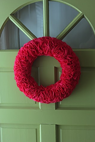 felt rosette wreath domestic wannabe