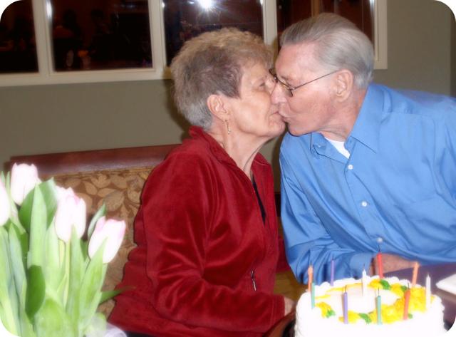 grandma & grandpa kiss