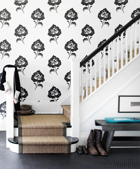 black and white staircase