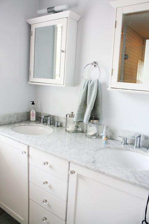 House tour sarah mike you 39 re so martha for Master bathroom ottoman