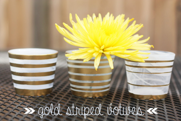 gold striped votives