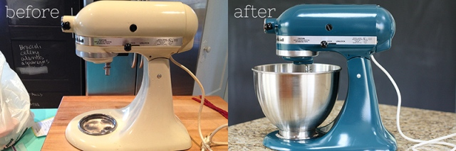 before and after 2 spray painted mixer