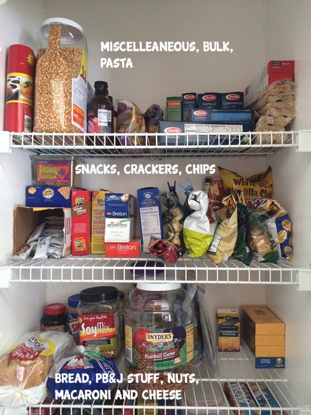 Top half pantry organized