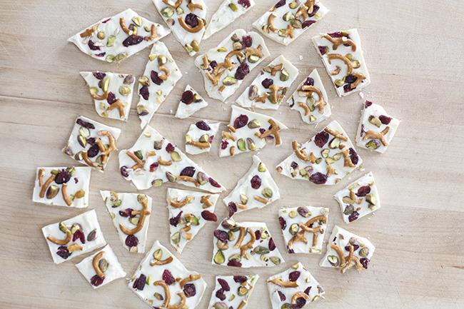 White Chocolate Pistachio Cranberry Pretzel Bark